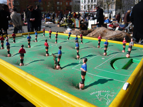 """Arcofalc"" antique table football game for sale in a flea market"