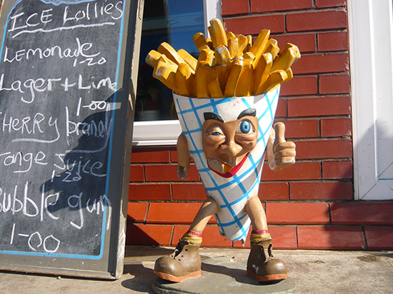plastic figure of chip/french fires cone man, with arms and legs