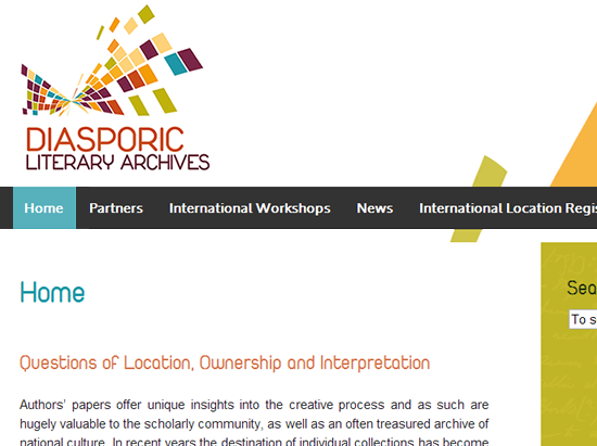 diasporic literary archives website screen shot