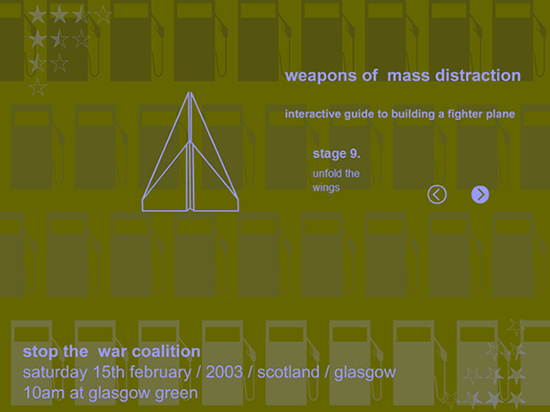 """weapons of mass distraction"" animated flyer for the 'stop the war coalition' protest, 15th february 2003, glasgow green"""