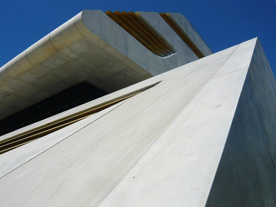 massive rhomboid of pre-cast-concrete, the pierresvives building by Zaha Hadid Architects