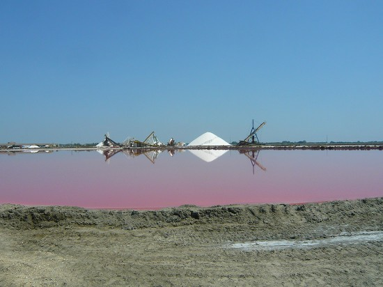 large mound of salt and machinery of of salt works reflected in a pink brine pool